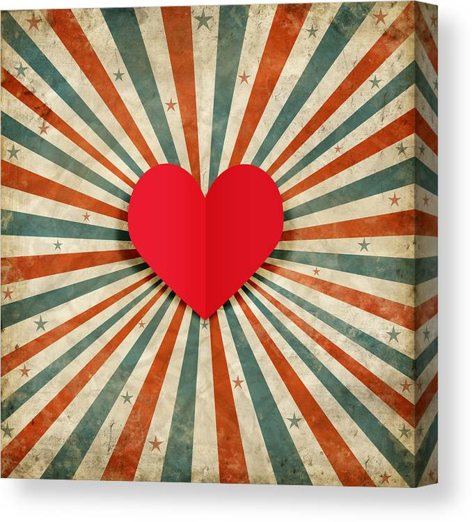Antique Canvas Print featuring the photograph Heart With Ray Background by Setsiri Silapasuwanchai