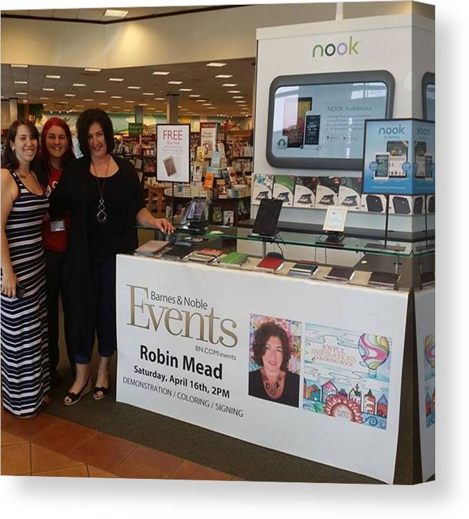 Barnesandnoble Canvas Print featuring the photograph Here I Am With My Gorgeous Daughters At by Robin Mead
