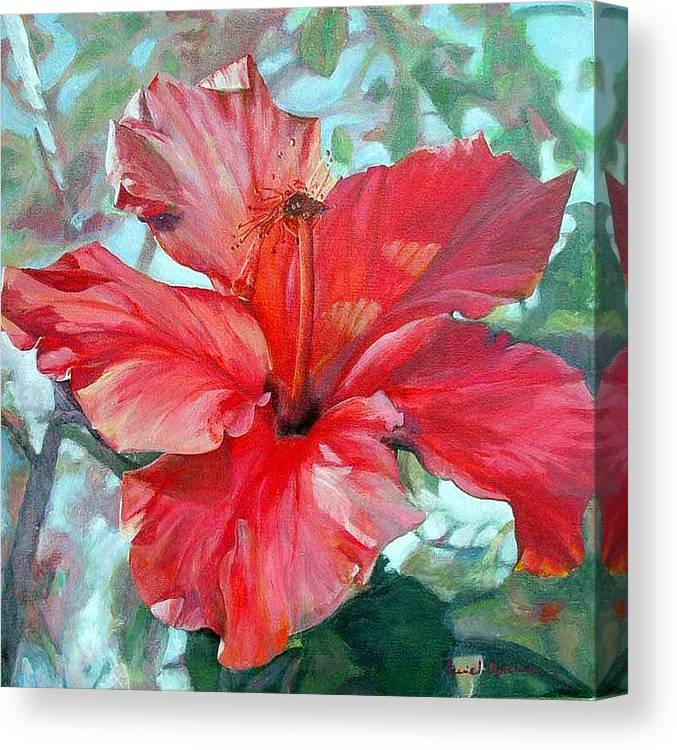 Floral Painting Canvas Print featuring the painting Hibiscus rouge by Muriel Dolemieux