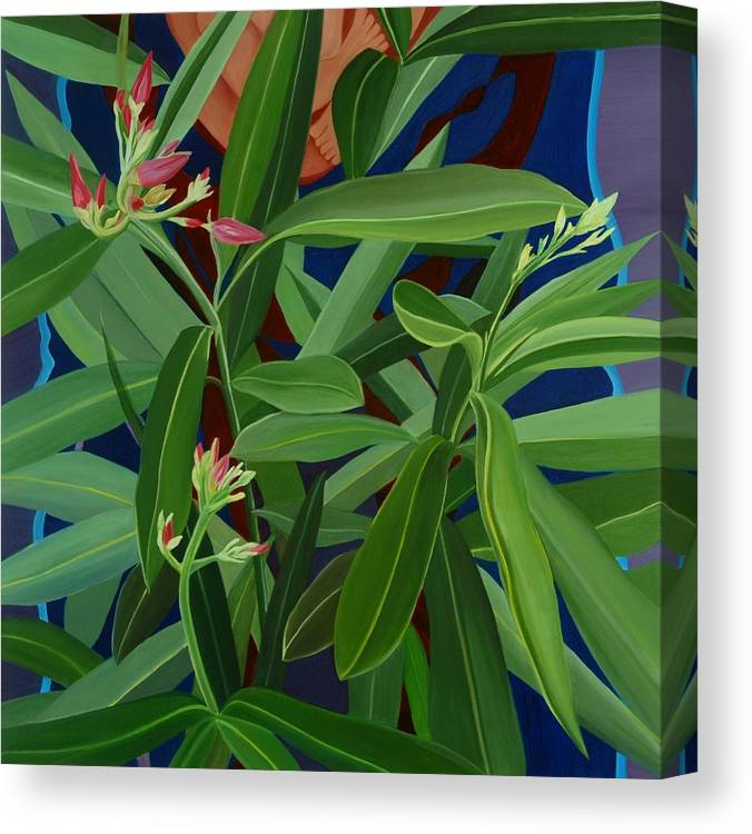 Floral Canvas Print featuring the painting Hidden Behind by Sunhee Kim Jung