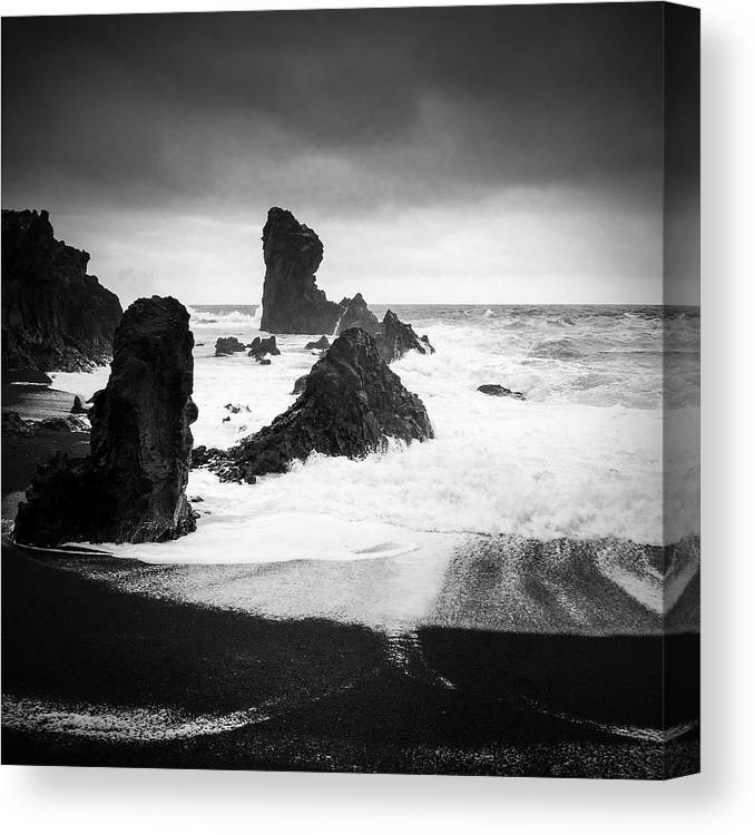 Iceland Canvas Print featuring the photograph Iceland Dritvik beach and cliffs dramatic black and white by Matthias Hauser