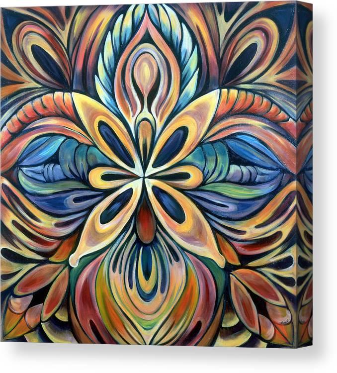 Mandala Canvas Print featuring the painting Illumination by Shadia Derbyshire