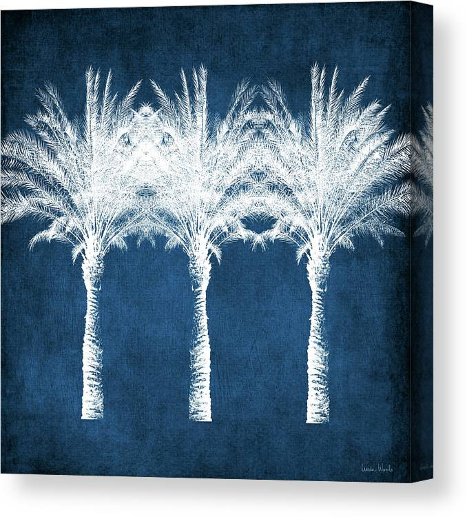 Palm Tree Canvas Print featuring the mixed media Indigo And White Palm Trees- Art by Linda Woods by Linda Woods