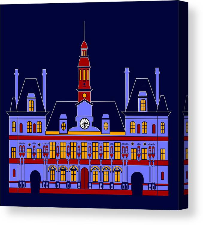 H De Ville Canvas Print featuring the digital art Inspired by the City Hall of Paris by Asbjorn Lonvig