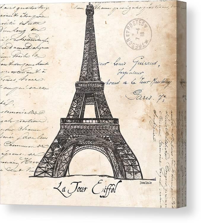Eiffel Tower Canvas Print featuring the painting La Tour Eiffel by Debbie DeWitt