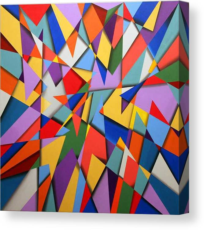 Abstract Based On The New Wing Of The Denver Art Museum Canvas Print featuring the painting Libskind by Marston A Jaquis