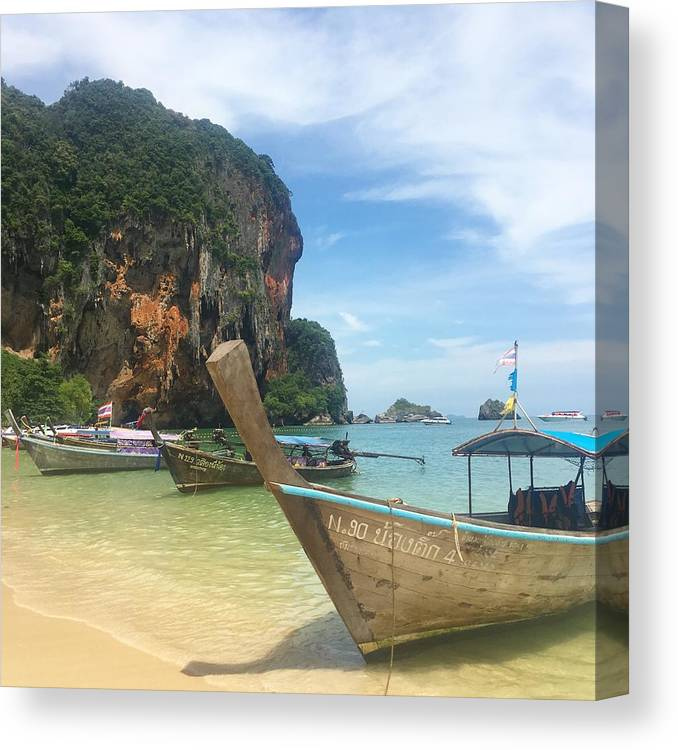 Thailand Canvas Print featuring the photograph Lounging Longboats by Ell Wills