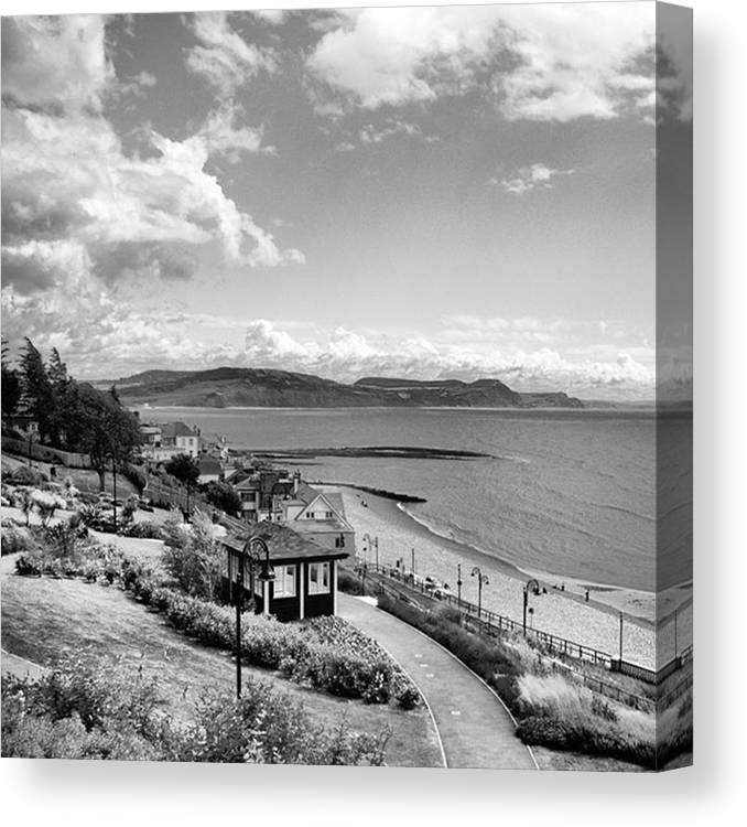 Blackandwhitephotography Canvas Print featuring the photograph Lyme Regis And Lyme Bay, Dorset by John Edwards