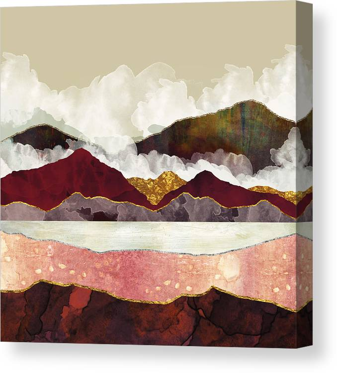Mountains Canvas Print featuring the digital art Melon Mountains by Katherine Smit
