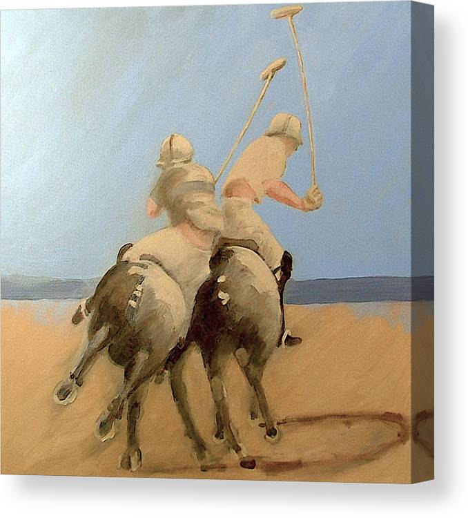Equestrian Sports Polo Canvas Print featuring the painting Miami Beach Polo by Jea DeVoe