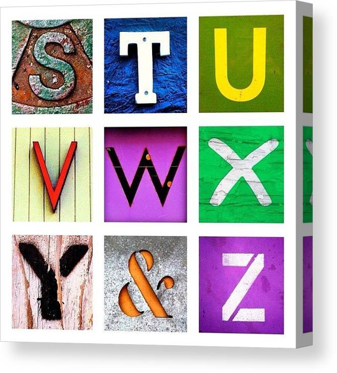 Alphabet Letters Canvas Print featuring the photograph my own alphabet S to Z by Julie Gebhardt
