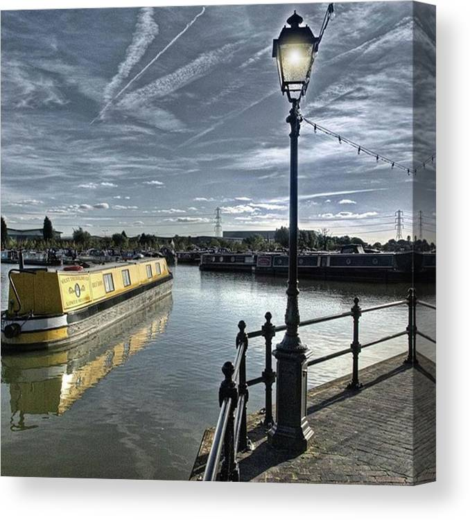 Nature Canvas Print featuring the photograph Narrowboat Idly Dan At Barton Marina On by John Edwards