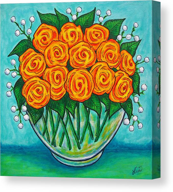 Orange Canvas Print featuring the painting Orange Passion by Lisa Lorenz