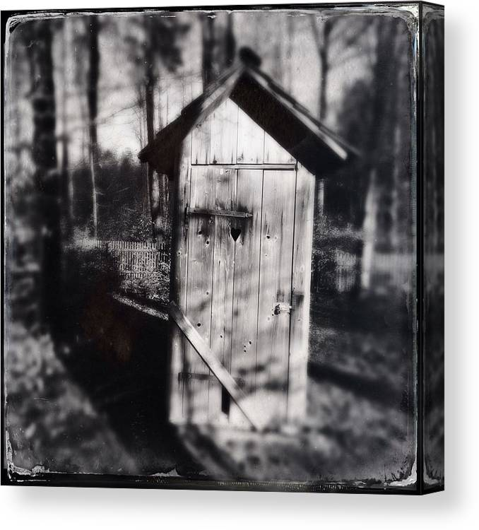 Outhouse Canvas Print featuring the photograph Outhouse black and white wetplate by Matthias Hauser