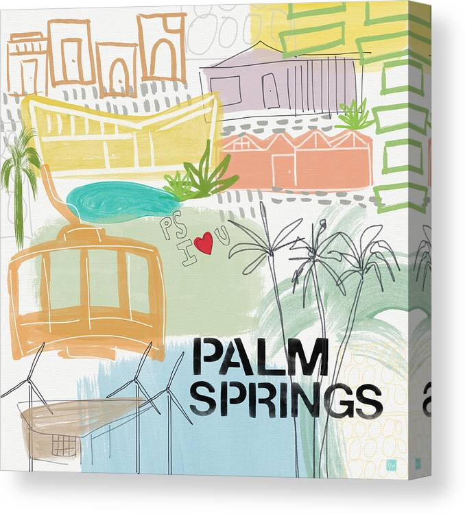 Palm Springs California Canvas Print featuring the painting Palm Springs Cityscape- Art by Linda Woods by Linda Woods