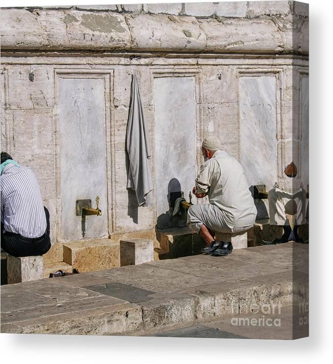 Religious Men Washing Feet Near Mosque Canvas Print / Canvas Art by  Patricia Hofmeester