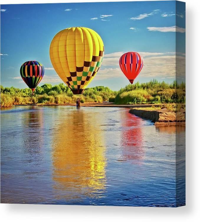 Fine Art Photography Canvas Print featuring the photograph Rio Grande balloon Reflection, Albuquerque, NM by Zayne Diamond Photographic
