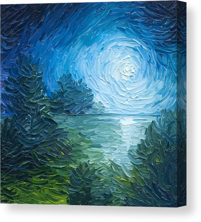 Nature; Lake; Sunset; Sunrise; Serene; Forest; Trees; Water; Ripples; Clearing; Lagoon; James Christopher Hill; Jameshillgallery.com; Foliage; Sky; Realism; Oils; Moon; Moonlight; Reflection; Blue; Lapis Canvas Print featuring the painting River Moon by James Christopher Hill