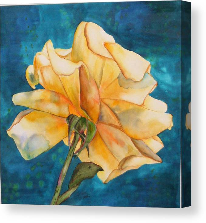 Floral Canvas Print featuring the painting Rose from behind by Diane Ziemski