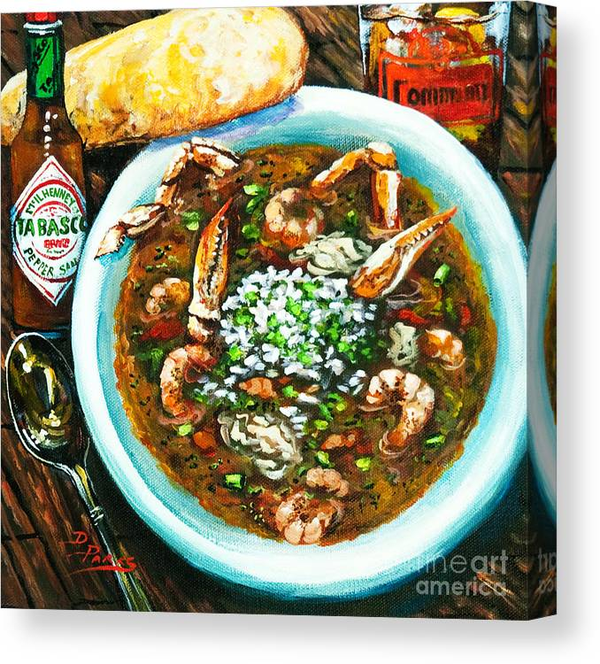 New Orleans Seafood Canvas Print featuring the painting Seafood Gumbo by Dianne Parks