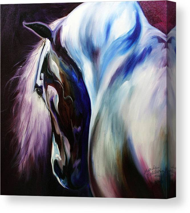 Horse Canvas Print featuring the painting Silver Shadows Equine by Marcia Baldwin
