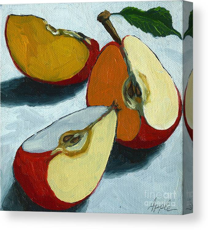 Apple Canvas Print featuring the painting Sliced Apple still life oil painting by Linda Apple