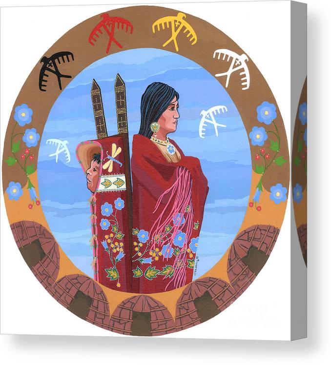 Native American Artwork Canvas Print featuring the painting Spirit Of Eagles by Chholing Taha
