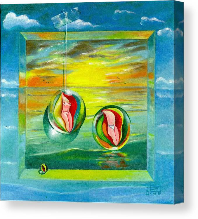 Surrealism Canvas Print featuring the painting Strollin Miami Beach at Sunset by Roger Calle