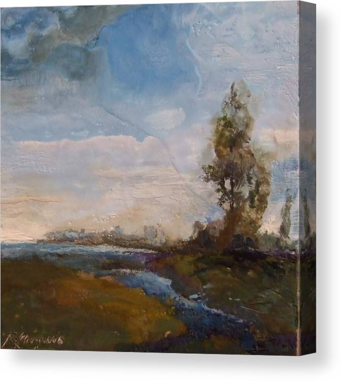 Stream Canvas Print featuring the painting Sunlit Stream by Ruth Stromswold