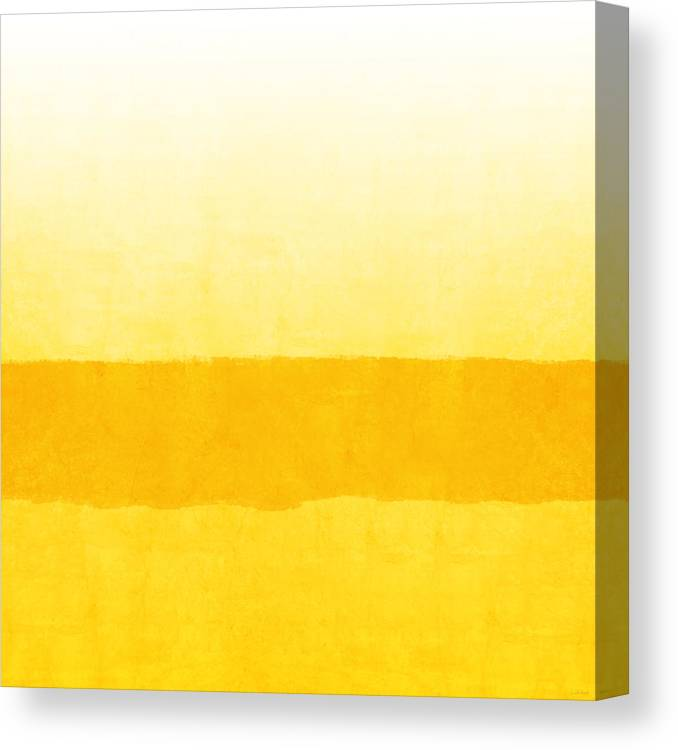 Abstract Canvas Print featuring the painting Sunrise- Yellow Abstract Art by Linda Woods by Linda Woods