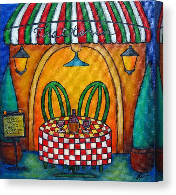 Table Canvas Print featuring the painting Table for Two at the Trattoria, Italy by Lisa Lorenz