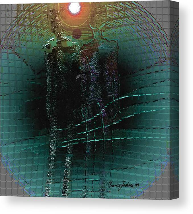 People Alien Arrival Visitors Canvas Print featuring the digital art The Arrival by Veronica Jackson