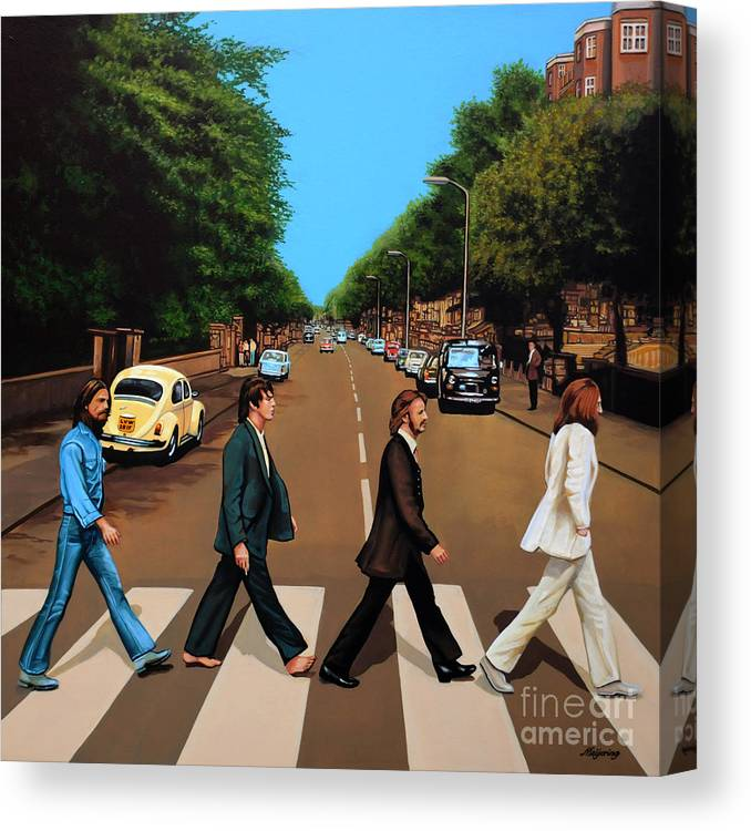 The Beatles Canvas Print featuring the painting The Beatles Abbey Road by Paul Meijering