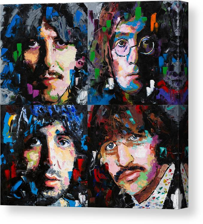 The Beatles Canvas Print featuring the painting The Beatles by Richard Day