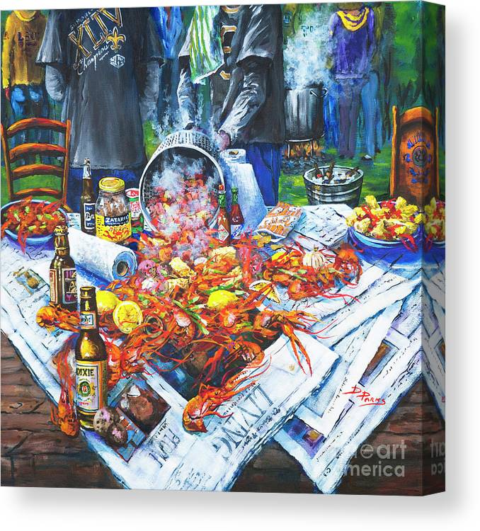 New Orleans Art Canvas Print featuring the painting The Crawfish Boil by Dianne Parks