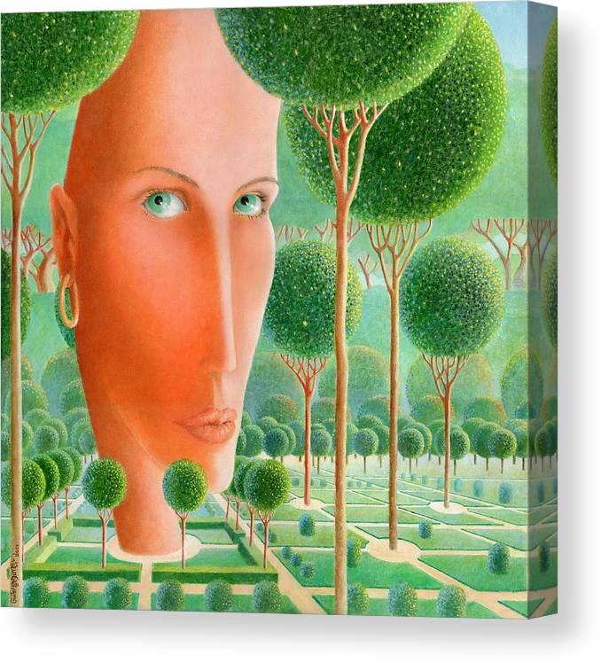 Giuseppe Mariotti Canvas Print featuring the painting The Garden by Giuseppe Mariotti