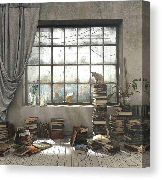 Books Canvas Print featuring the digital art The Introvert by Cynthia Decker