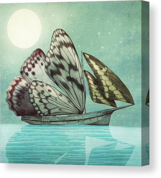 Butterfly Canvas Print featuring the drawing The Voyage by Eric Fan