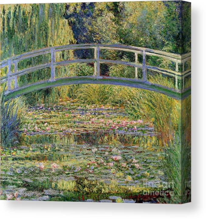 The Canvas Print featuring the painting The Waterlily Pond with the Japanese Bridge by Claude Monet
