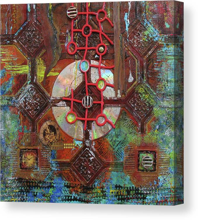 Assemblage Painting Canvas Print featuring the painting Time Passage II by Elaine Booth-Kallweit