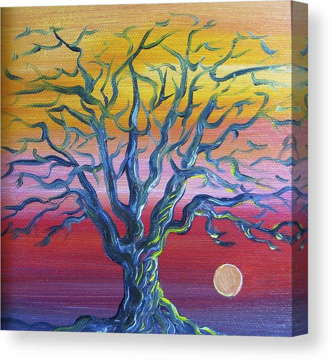 Tree Canvas Print featuring the painting Tree at Sunset by Karen Doyle