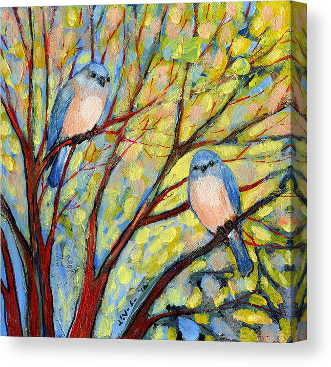 Bird Canvas Print featuring the painting Two Bluebirds by Jennifer Lommers