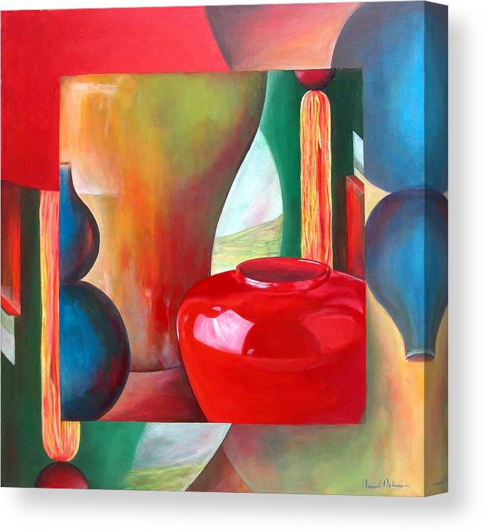 Still Life Canvas Print featuring the painting Vases by Muriel Dolemieux