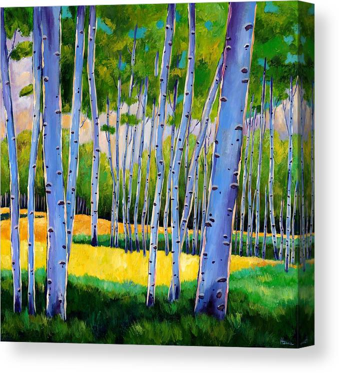 Landscapes Canvas Print featuring the painting View Through Aspen by Johnathan Harris