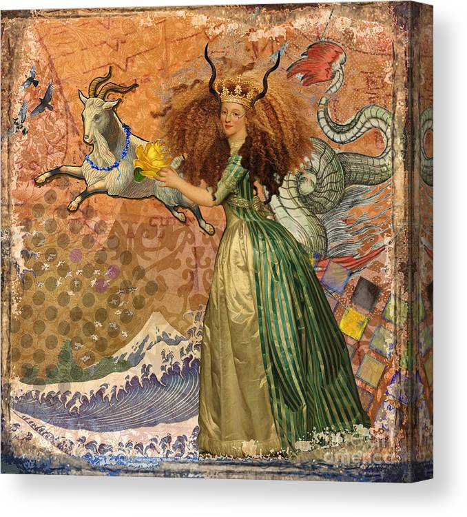 Doodlefly Canvas Print featuring the digital art Vintage Golden Woman Capricorn Gothic Whimsical Collage by Mary Hubley