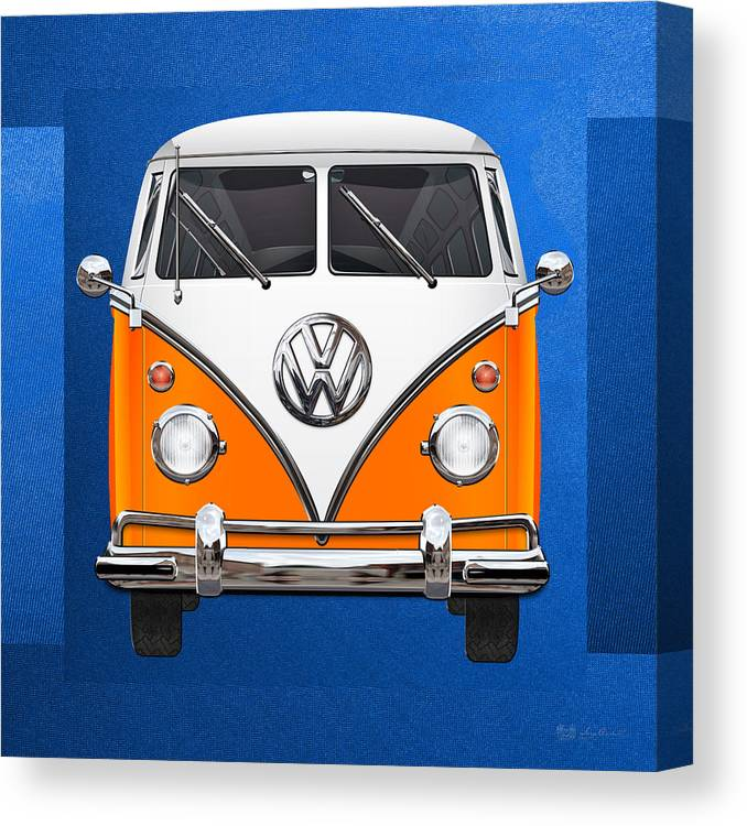 'volkswagen Type 2' Collection By Serge Averbukh Canvas Print featuring the photograph Volkswagen Type - Orange and White Volkswagen T 1 Samba Bus over Blue Canvas by Serge Averbukh