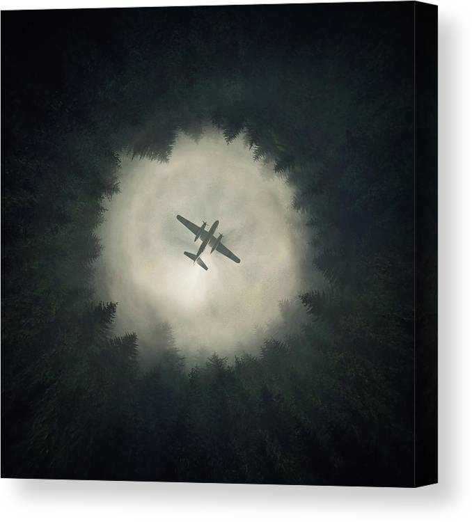 Airplane Canvas Print featuring the digital art Way Out by Zoltan Toth