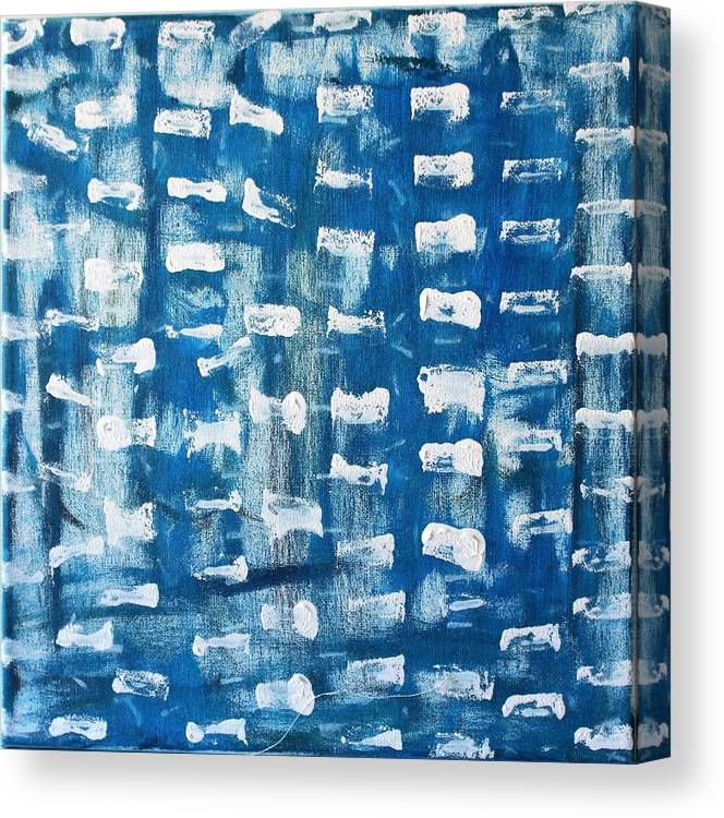 Blue Canvas Print featuring the painting Whispering Pines by Pam Roth O'Mara