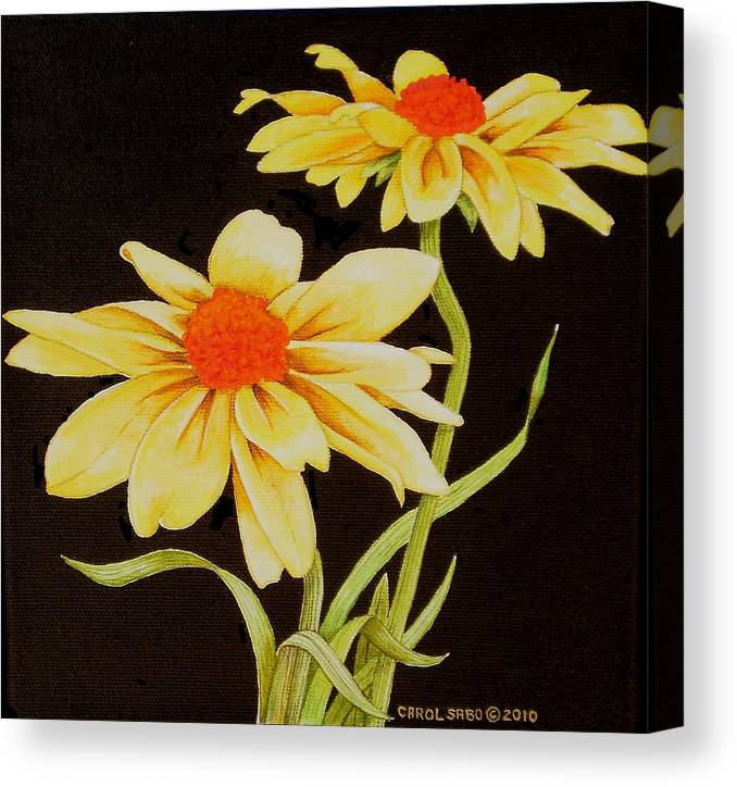 Original Canvas Print featuring the painting Yellow Daisies by Carol Sabo