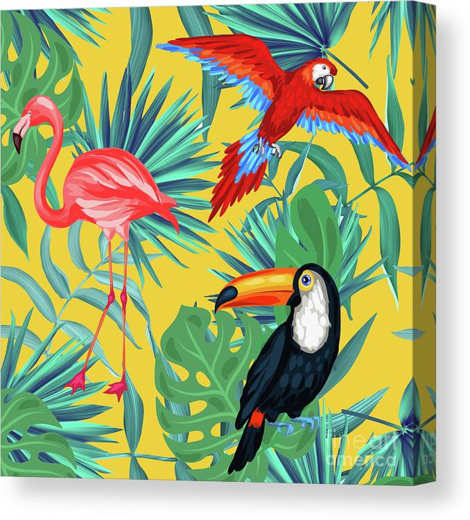 Parrot Canvas Print featuring the digital art Yellow Tropic by Mark Ashkenazi